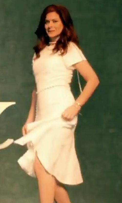 Debra Messing with Jonathan Simkhai Pearl Seam Flared Dress in Will & Grace