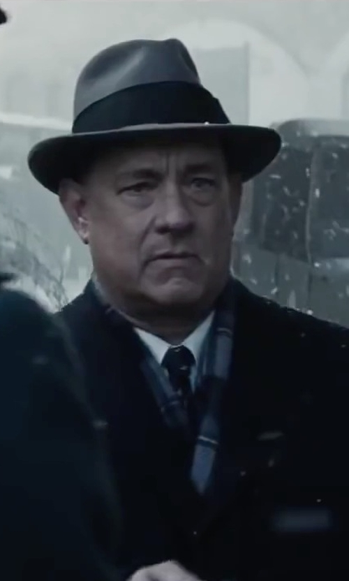 Tom Hanks with Boss Hugo Boss 'Marlyn' Sharp Fit Stripe Tuxedo Shirt in Bridge of Spies