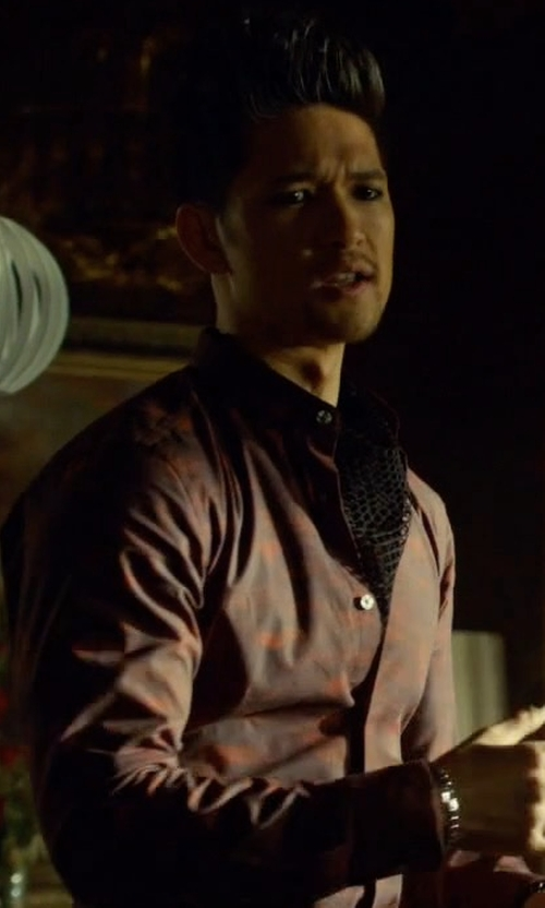 Harry Shum Jr. with The Kooples Regular-Fit Printed Shirt in Shadowhunters