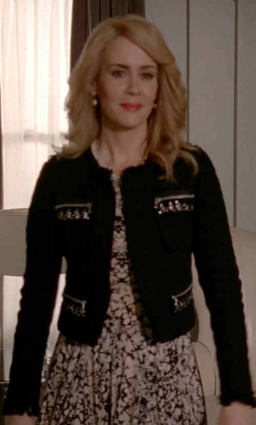 Sarah Paulson with Kay Unger Geometric Fit & Flare Dress in American Horror Story