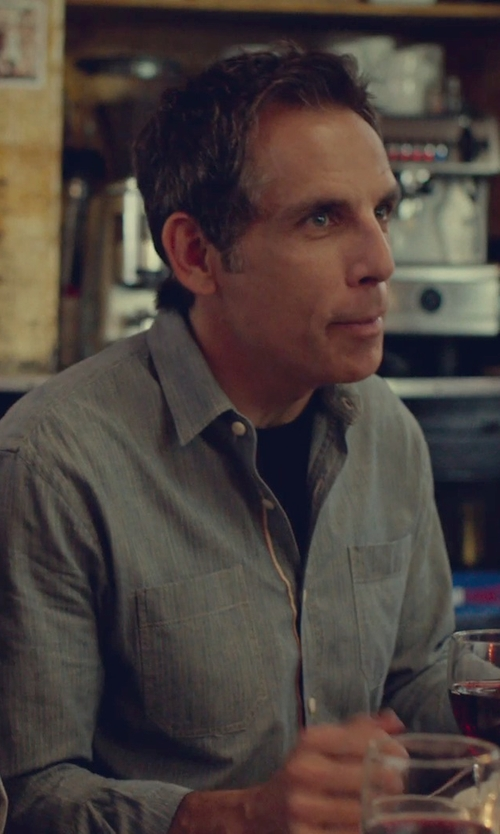 Ben Stiller with Incotex Trimmed Chambray Oxford Shirt in While We're Young