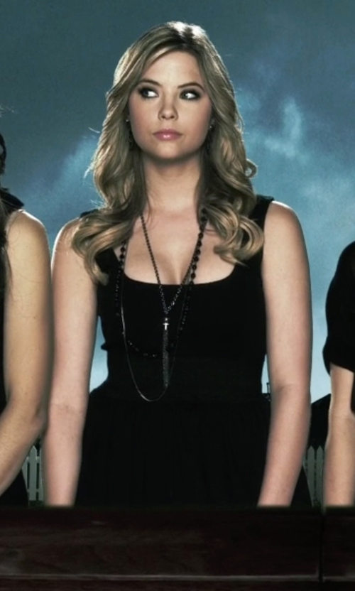 Ashley Benson with Mela Artisans Mandala Onyx Tassel Necklace in Pretty Little Liars