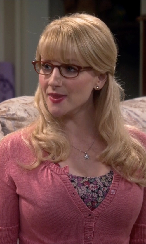 Melissa Rauch with Krisp Low V-Neck Buttoned Cardigan in The Big Bang Theory