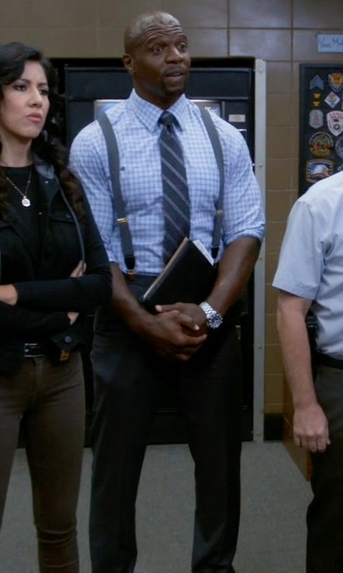 Terry Crews with Michael Kors Striped Silk and Wool Tie in Brooklyn Nine-Nine