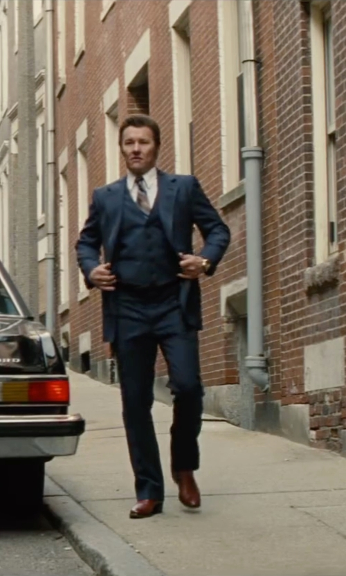 Joel Edgerton with English Laundry Solid Slim-Fit Vested Suit in Black Mass