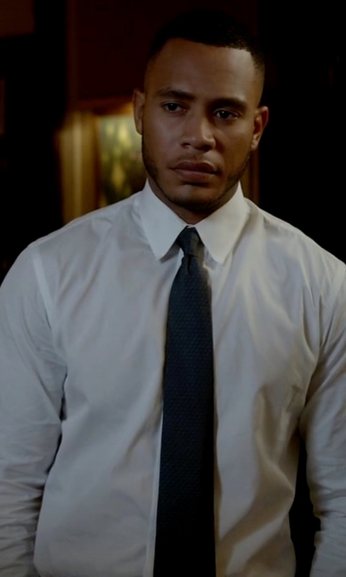 Trai Byers with Armani Collezioni Solid Oxford Dress Shirt in Empire