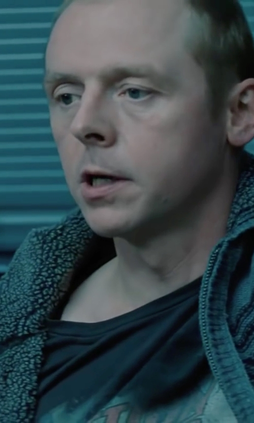 Simon Pegg with Billionaire Boys Club T-Shirt With Space Beach Print in Mission: Impossible - Ghost Protocol