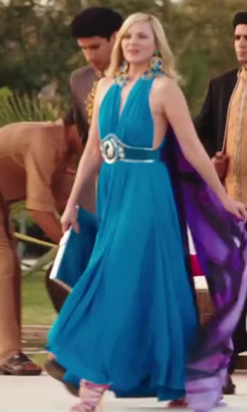 Kim Cattrall with Marc Bouwer Turquoise Jersey Maxi Dress in Sex and the City 2