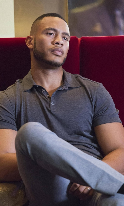 Trai Byers with Ermenegildo Zegna Cotton-Silk Polo Shirt in Empire
