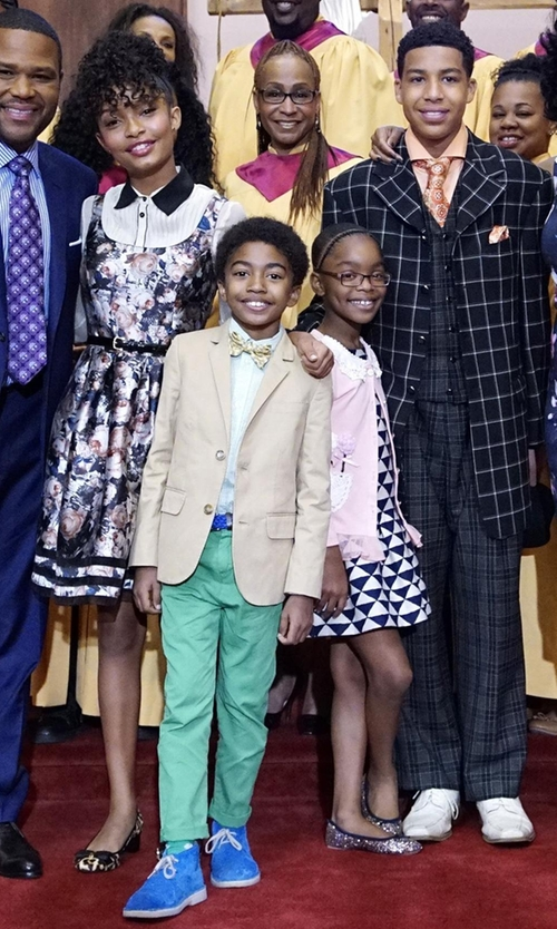 Miles Brown with J.Crew Boys' Italian Chino Ludlow Suit Jacket in Black-ish