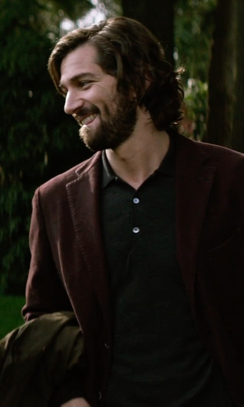 Michiel Huisman with Sacai Grosgrain Ribbon Placket Polo Shirt in The Age of Adaline