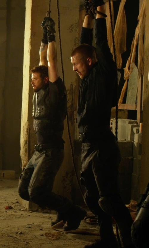 Glen Powell with J Brand Jeans Trooper Cargo Twill Pants in The Expendables 3