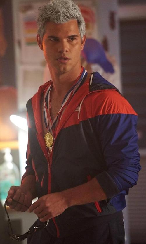 Taylor Lautner with Nike Windrunner Jacket in Scream Queens