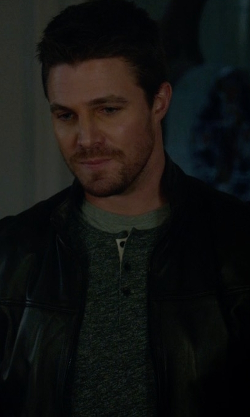Stephen Amell with Boss Hugo Boss Nilas Leather Jacket in Arrow
