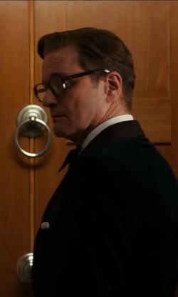 Colin Firth with Kingsman for Mr. Porter Blue Velvet Smoking Jacket With Silk-Grosgrain Shawl-Collar in Kingsman: The Secret Service