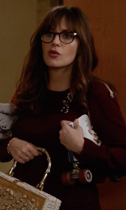 Zooey Deschanel with Kate Spade New York Embellished Brooch Sweater in New Girl