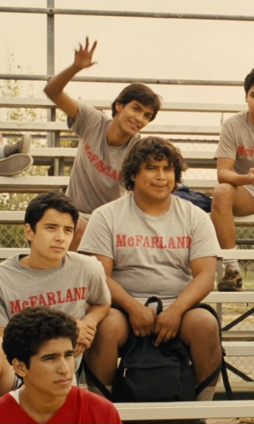 Michael Aguero with Sophie De Rakoff (Costume Designer) Custom Made McFarland Print T-Shirt in McFarland, USA