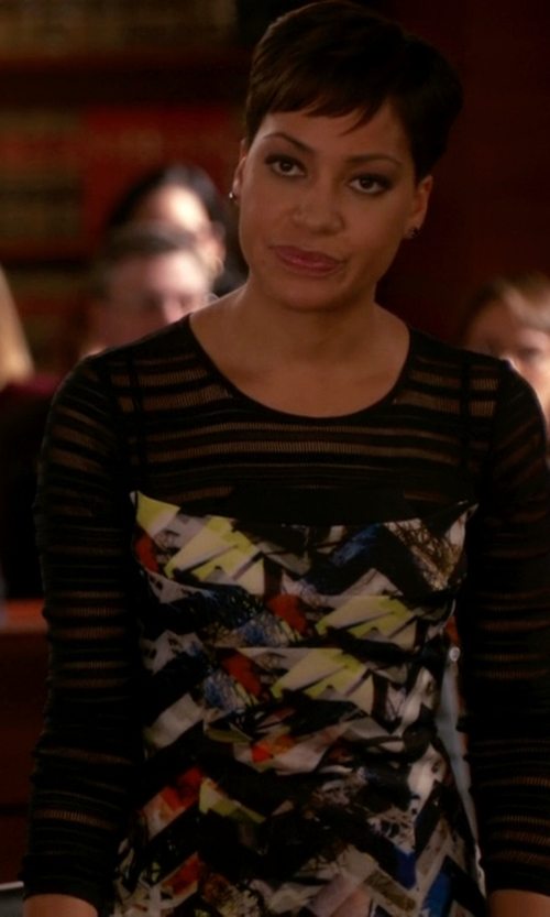 Cush Jumbo with Marchesa Notte Long Sleeve Dress in The Good Wife