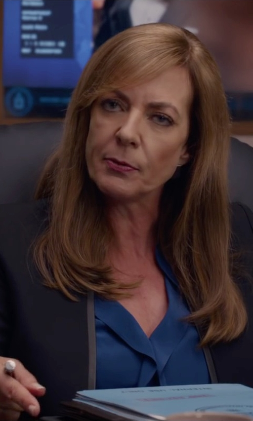 Allison Janney with Brigitte Bailey Channing V-Neck Blouse in Spy