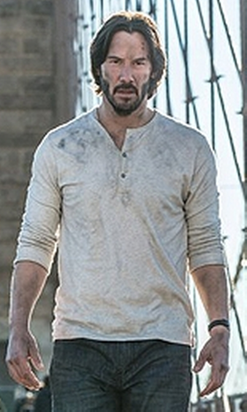 Keanu Reeves with Vince Ribbed Raw-Edge Henley T-Shirt in John Wick: Chapter 2