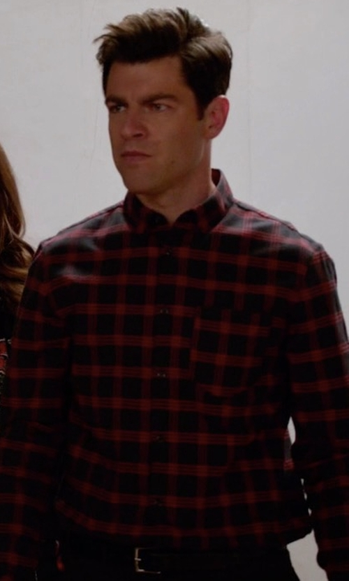 Max Greenfield with Burberry Wool Blend Plaid Shirt in New Girl