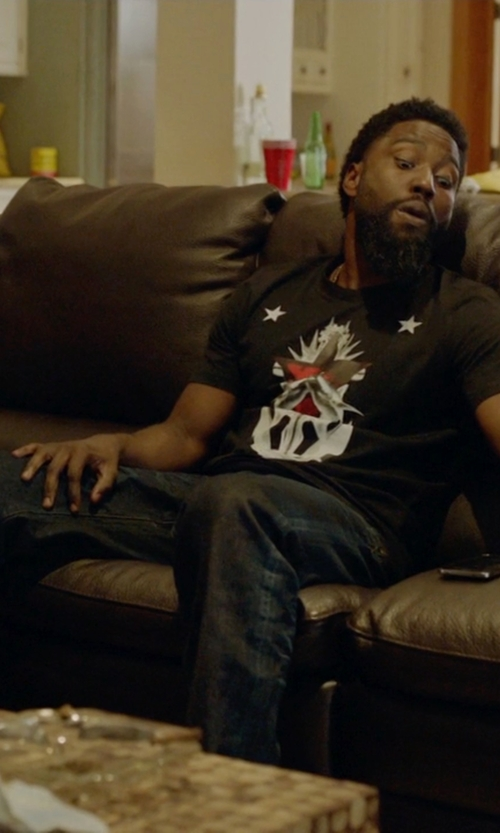 John David Washington with Just Cavalli Relaxed Fit Denim in Ballers