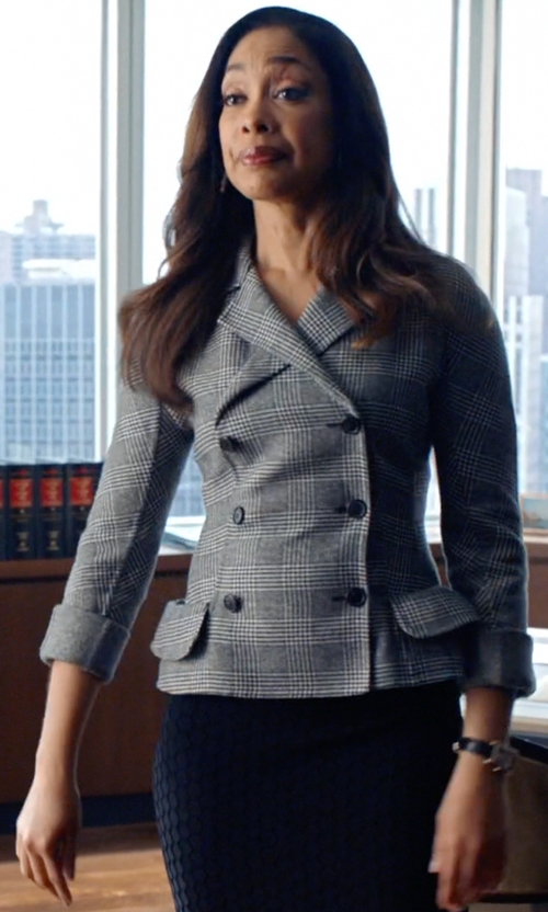 Gina Torres with Antonio Berardi Waffle Jacquard Combo Sheath in Suits