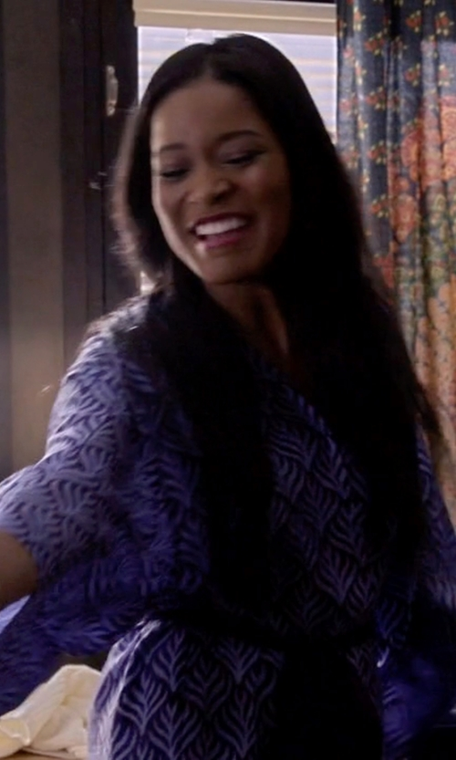 Keke Palmer with Topshop Key To Freedom Silk Duster Kimono in Scream Queens