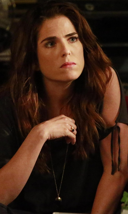 Karla Souza with Signature Gold Onyx Teardrop Pendant Necklace in How To Get Away With Murder