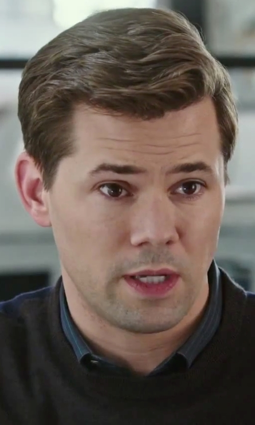 Andrew Rannells with Bugatchi Shaped Fit Stripe Sport Shirt in The Intern
