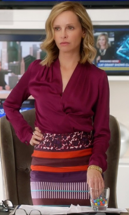 Calista Flockhart with Plenty by Tracy Reese Geo Stripe Knit Pencil Skirt in Supergirl