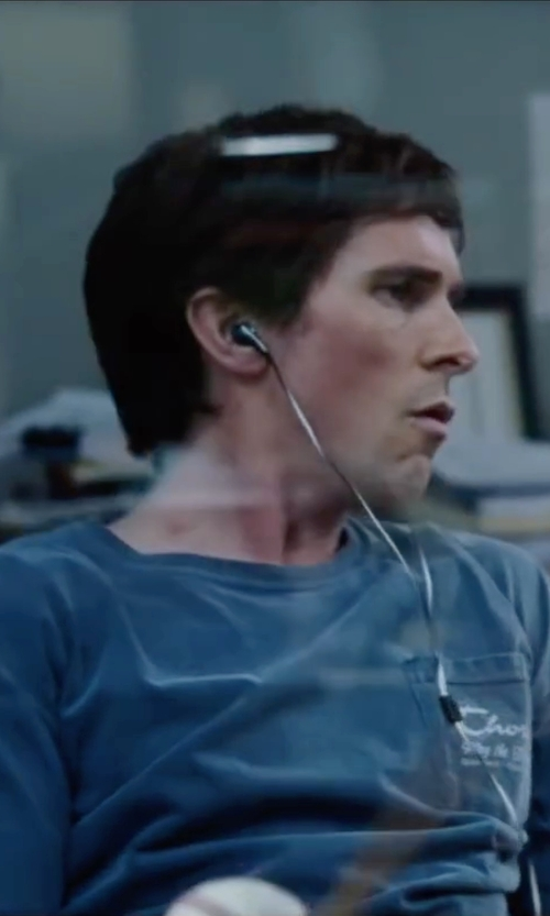 Christian Bale with Rodd & Gunn  Stokes Valley Crewneck Pocket T-Shirt in The Big Short