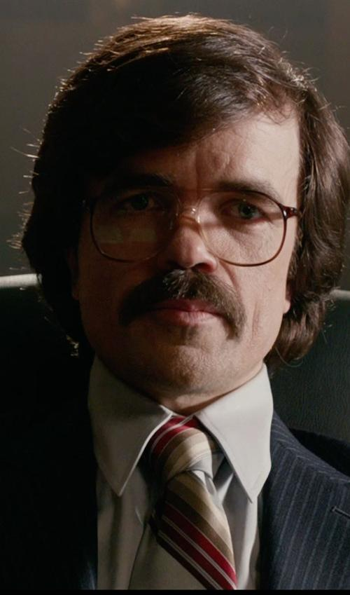 Peter Dinklage with Steve Harvey Men's Multi Bar Stripe Pattern Tie with Pocket Square in X-Men: Days of Future Past