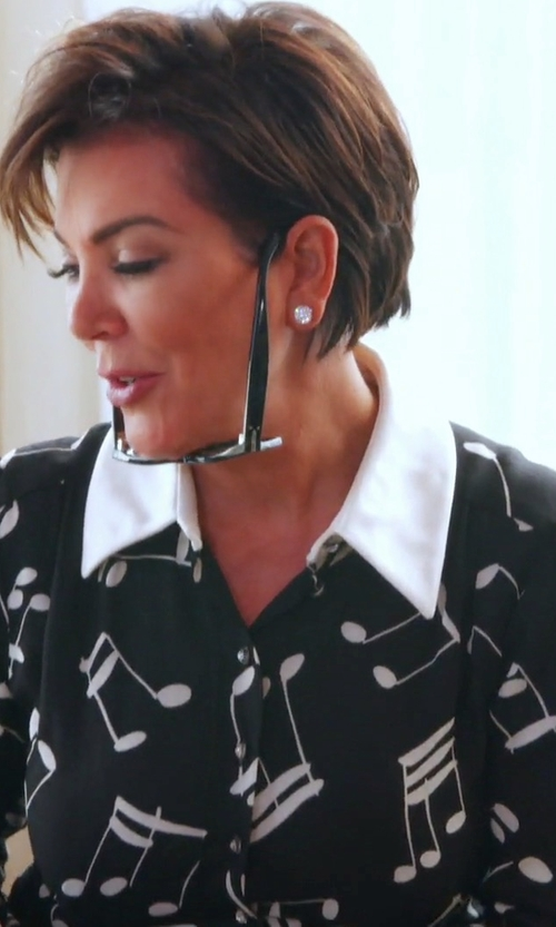 Kris Jenner with Saint Laurent Modified Music Note Printed Shirt in Keeping Up With The Kardashians