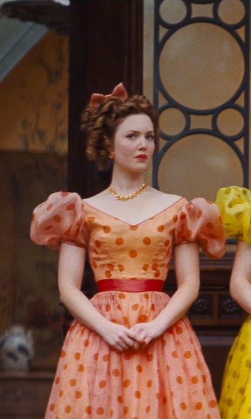Holliday Grainger with Sandy Powell (Costume Designer) Custom Made Orange Floral Necklace (Anastasia) in Cinderella