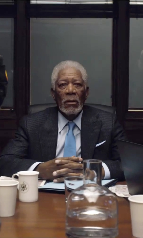 Morgan Freeman with Tommy Hilfiger Tonal-Stripe Classic-Fit Suit in London Has Fallen