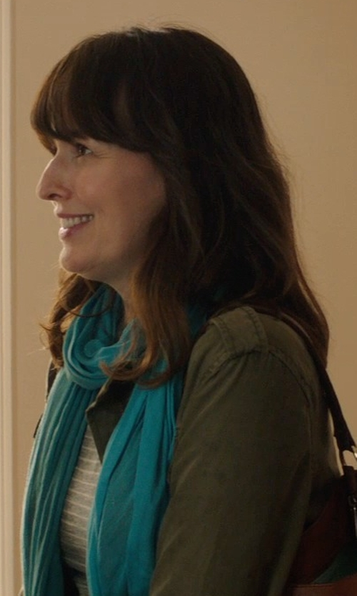 Rosemarie DeWitt with J.Crew Gray Painter Boatneck Button Tee in Skinny Stripe in Poltergeist