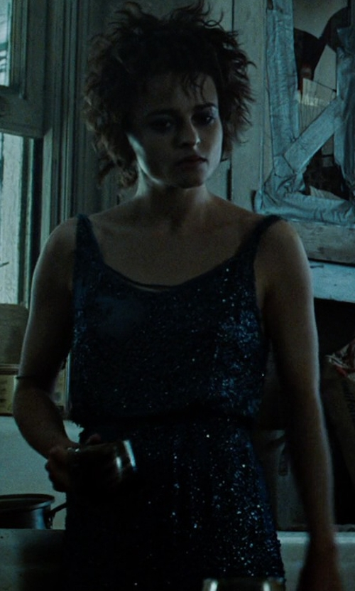 Helena Bonham Carter with Adrianna Papell Embellished Mesh Tank Dress in Fight Club