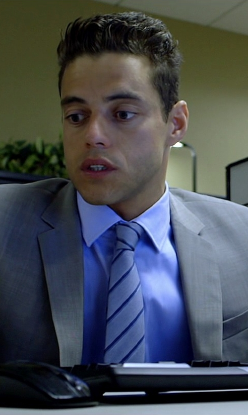 Rami Malek with Armani Collezioni Regimental Stripe Silk Tie in Need for Speed