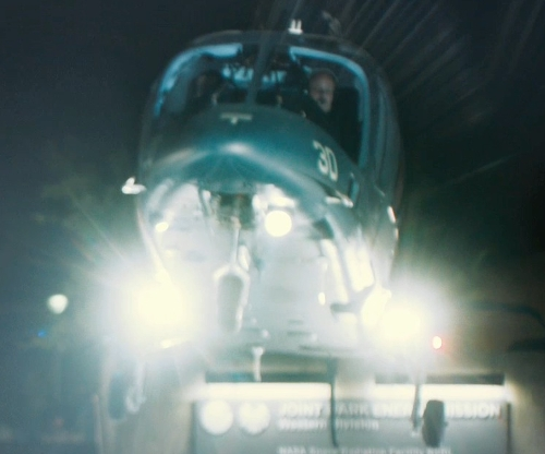 Samuel L. Jackson with Agusta A109s Grand Turbine Helicopter in Marvel's The Avengers