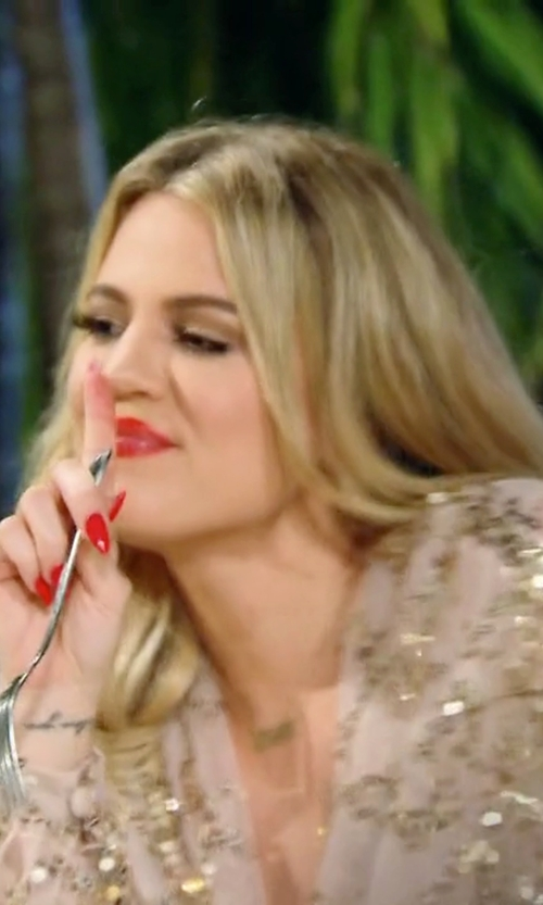 Khloe Kardashian with Outletpad Gold Sparkle Sequined Fringed V-Neck Maxi Dress in Keeping Up With The Kardashians
