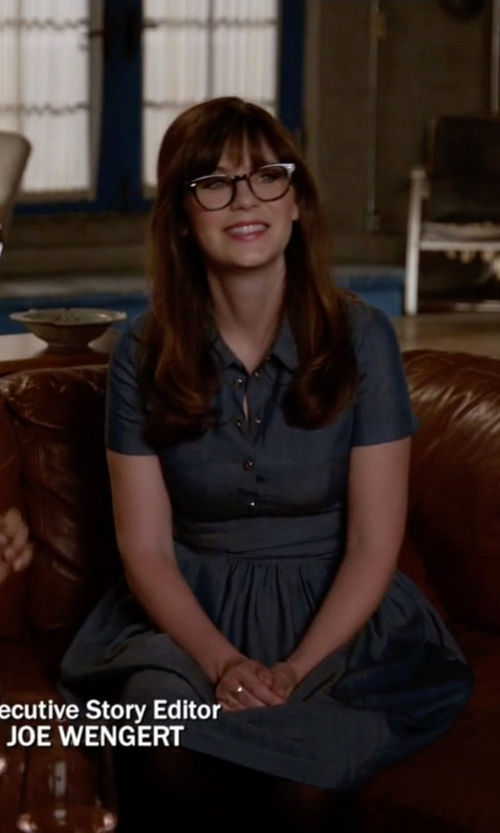 Zooey Deschanel with ATM Short-Sleeve Silk Shirtdress in New Girl