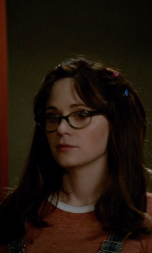Zooey Deschanel with Kate Spade Cat-Eye Plastic Eyeglasses in New Girl