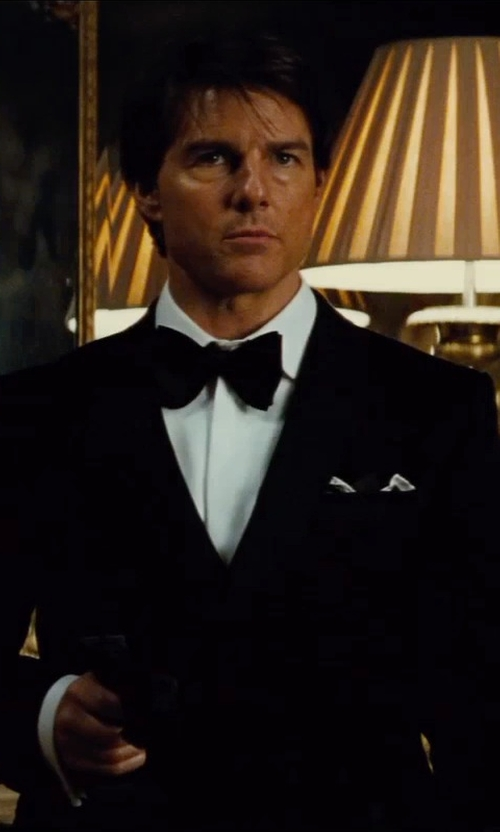Tom Cruise with Boss Hugo Boss Slim Fit Two Ply Pleated Tuxedo Shirt in Mission: Impossible - Rogue Nation