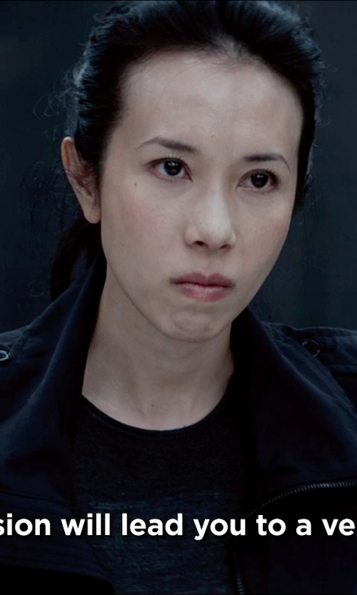 Karen Mok with Rick Owens Drkshdw Denim Jacket in Man of Tai Chi