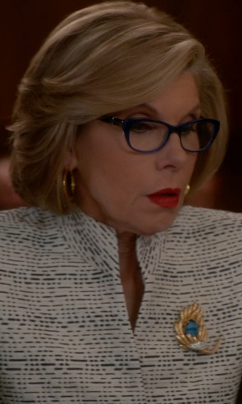 Christine Baranski with Carrie's Couture Jomaz Faux-Peridot & Pearl Brooch in The Good Wife