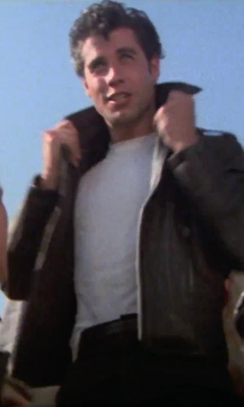 John Travolta with Apolis Crew Neck T-Shirt in Grease