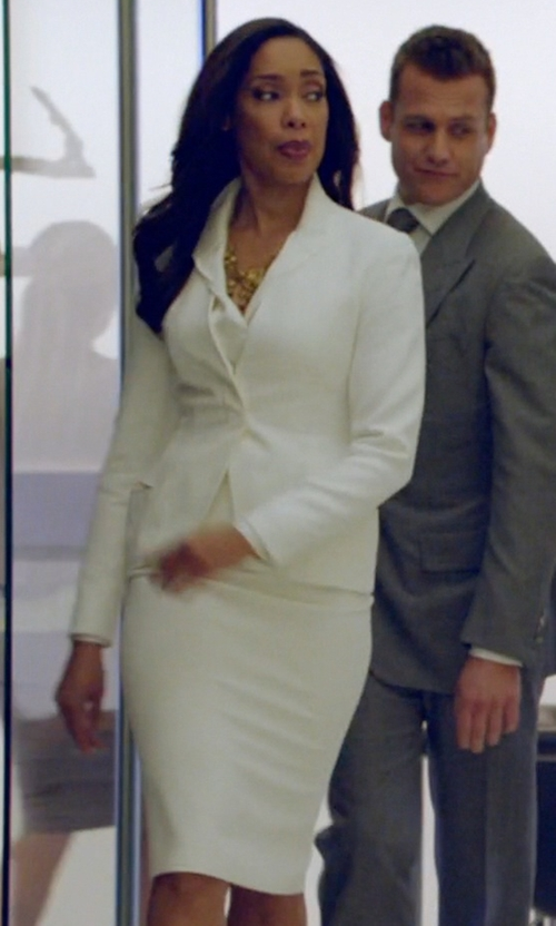 Gina Torres with La Fayette 148 Metropolitan Stretch Priscilla Skirt in Suits