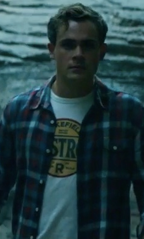 Dacre Montgomery with Lucky Brand Men's Wakefield Castrol T-Shirt in Power Rangers
