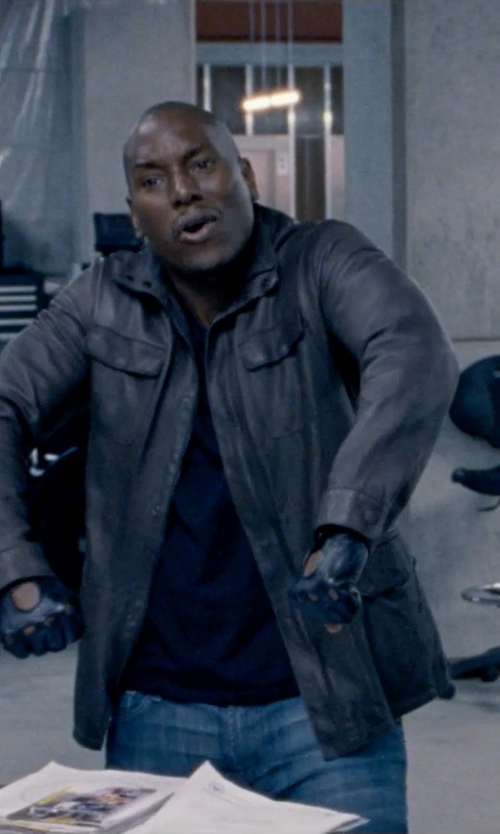 Tyrese Gibson with Vince Camuto Leather Four-Pocket Car Coat in Fast & Furious 6